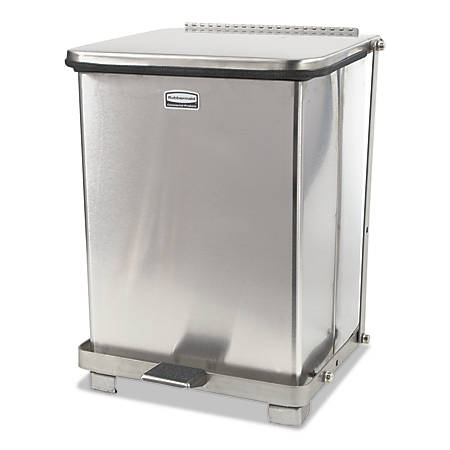 Rubbermaid® Commercial Defenders® Stainless-Steel Medical Step Can, Square, 7 Gallons, Stainless Steel