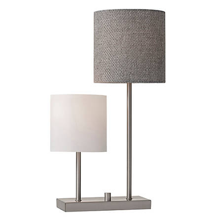 """Adesso® Aubrey Table Lamp, 25 1/2""""H, White And Gray Shades/Steel Base"""