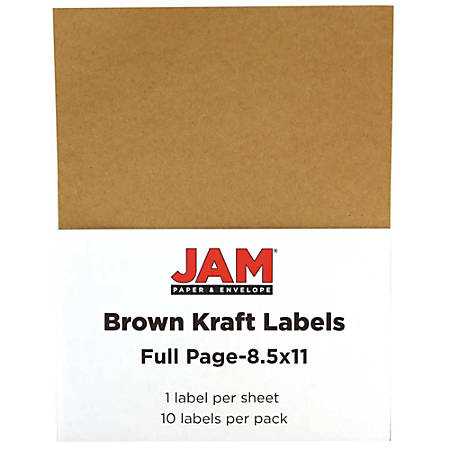 "JAM Paper® Full-Page Mailing And Shipping Labels, 337628602, 8 1/2"" x 11"", Brown Kraft, Pack Of 10"
