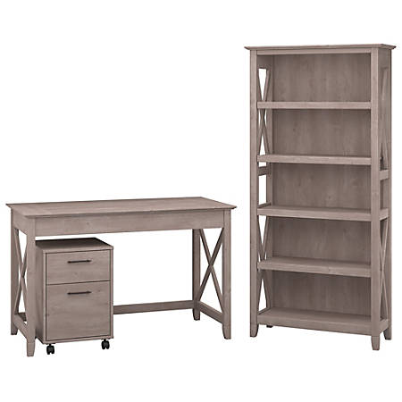 "Bush Furniture Key West 48""W Writing Desk With 2 Drawer Mobile File Cabinet And 5 Shelf Bookcase, Washed Gray, Standard Delivery"