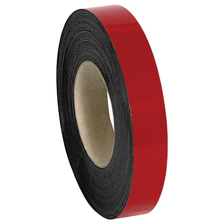 """Office Depot® Brand Magnetic Warehouse Label Roll, LH155, 1"""" x 100', Red"""