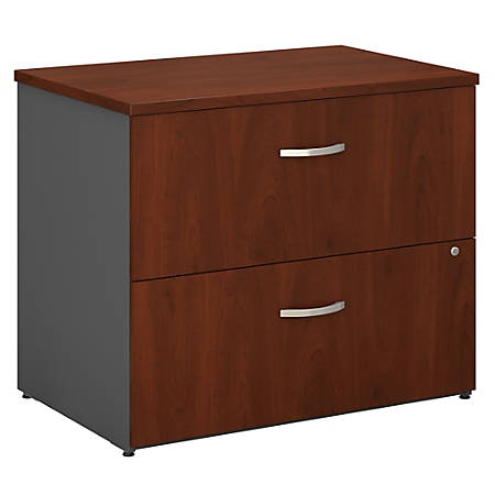 "Bush Business Furniture Components 2 Drawer Lateral File Cabinet, 36""W, Hansen Cherry/Graphite Gray, Standard Delivery"