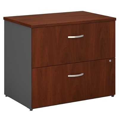Bush Business Furniture Components 2 Drawer Lateral File Cabinet 36 W Hansen Cherry Graphite Gray Standard Delivery Item 361891