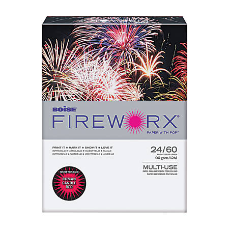 Boise® FIREWORX ® Multi-Use Color Paper, Letter Paper Size, 24 Lb, FSC® Certified, 30% Recycled, Roman Candle Red, Ream Of 500 Sheets