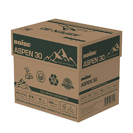 "Boise® ASPEN® 30 Multi-Use Paper, Letter Size (8 1/2"" x 11""), 20 Lb, 30% Recycled, FSC® Certified, Ream Of 500 Sheets, Case Of 5 Reams"