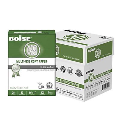 Boise® X-9® Multi-Use Copy Paper, Letter Paper Size, 20 Lb, 500 Sheets Per Ream, Case Of 5 Reams
