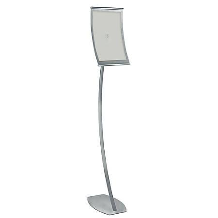 "Azar Displays Curved Steel-Frame Floor Stand Sign Holder, 14"" x 8 1/2"", Silver"