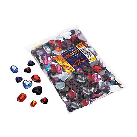 Creativity Street Acrylic Gemstones & Buttons, Assorted Sizes, Assorted Colors, 1 Lb Bag