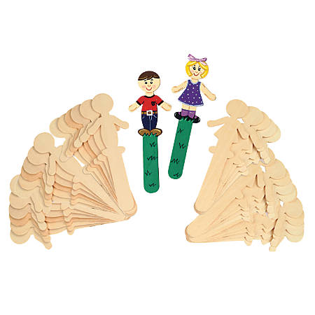 "Chenille Kraft People-Shaped Wood Craft Sticks, Natural, 5 3/8"", Pack Of 36"