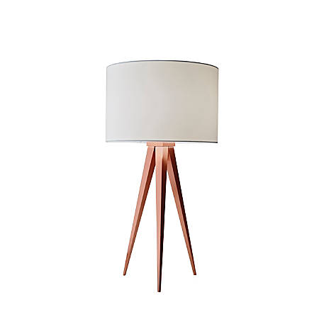 "Adesso® Director Table Lamp, 26 1/4""H, Off-White Shade/Copper Base"
