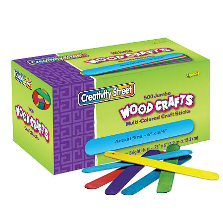 "Creativity Street Wood Crafts Jumbo Craft Sticks, 6"" x 3/4"" x 2mm, Color, Box Of 500"