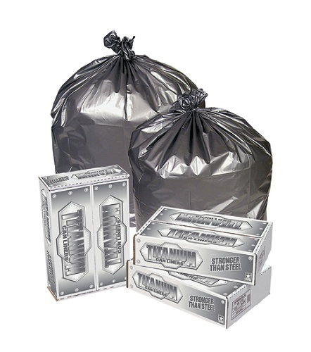 Pitt Plastics 1 7-mil Titanium Can Liners, 55 - 60 Gallons, Silver, Pack Of  50 Item # 3623797