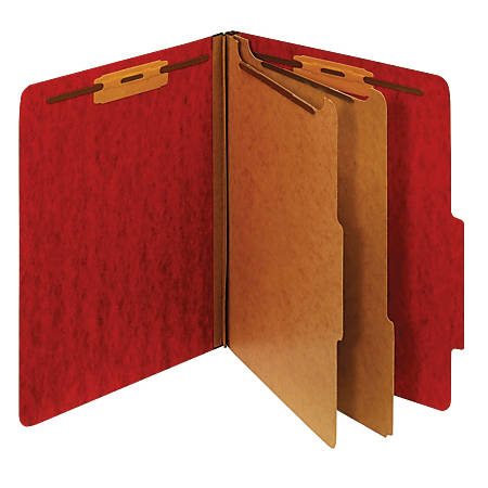 [IN]PLACE® Moisture-Resistant Classification Folders, Letter Size, 2 Dividers, Dark Red, Box Of 10