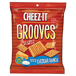 Cheez-It Grooves™ Zesty Cheddar Ranch, 3.25 Oz, Carton Of 6 Item# 362487 at Office Depot in Cypress, TX | Tuggl