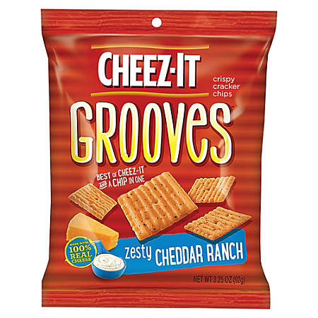 Cheez-It Grooves™ Zesty Cheddar Ranch, 3.25 Oz, Carton Of 6