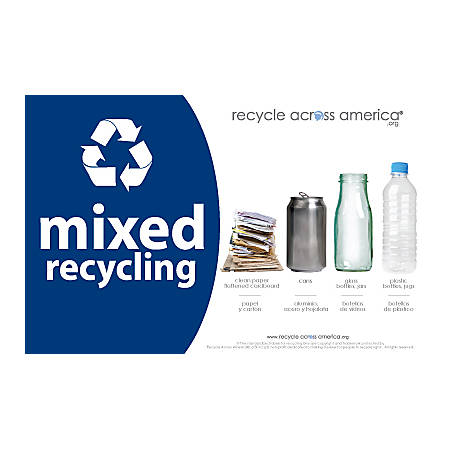 """Recycle Across America Mixed Standardized Recycling Labels, MXD-5585, 5 1/2"""" x 8 1/2"""", Navy Blue"""
