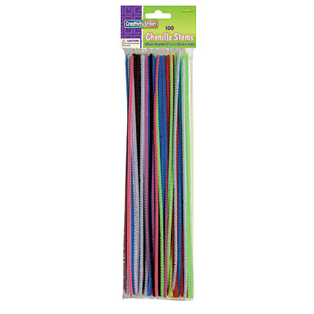 """Creativity Street Chenille Stems, 4mm x 12"""", Assorted Colors, Pack Of 100"""
