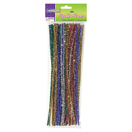 Creativity Street Jumbo Sparkly Stem Pipe Cleaners - Craft Project, Classroom - 236.2 mil - 1000 / Box - Assorted - Polyester