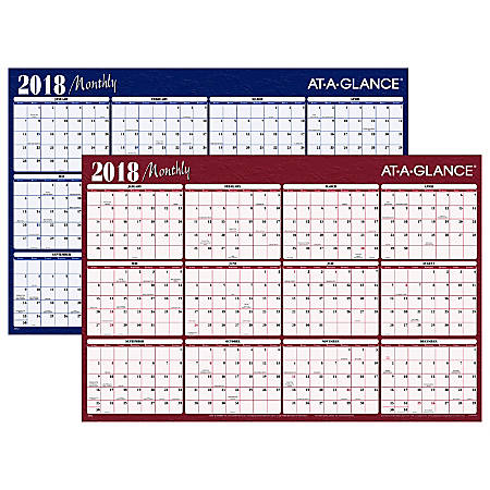 """AT-A-GLANCE® Yearly Erasable Wall Calendar, Reversible 2 Color, 48"""" x 32"""", Blue/Burgundy Ink, January to December 2018 (A152-18)"""