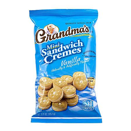 Grandma's Vanilla Mini Sandwich Crèmes, 3.71 Oz Bag, Box Of 24 Bags