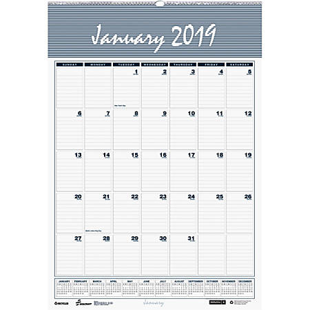 """Monthly Wall Calendar, 8 1/2"""" x 11"""", 100% Recycled, January to December 2019 (AbilityOne 7510-01-600-7572)"""