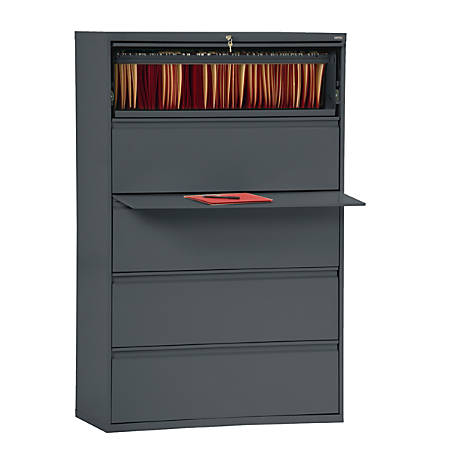 """Sandusky® 800 Series Steel Lateral File Cabinet, 5-Drawers, 66 3/8""""H x 36""""W x 19 1/4""""D, Charcoal"""