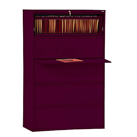 "Sandusky® 800 Series Steel Lateral File Cabinet, 5-Drawers, 66 3/8""H x 36""W x 19 1/4""D, Burgundy"