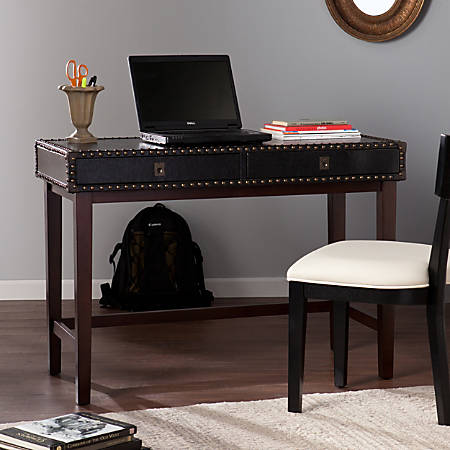 Southern Enterprises Rinaldi Faux Leather Writing Desk, Espresso/Black