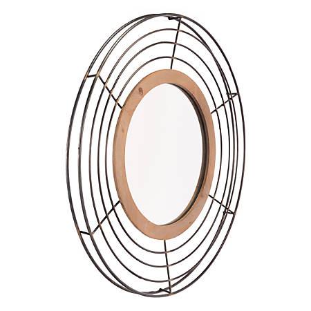 """Zuo Modern Tron Round Mirror, 31 15/16""""H x 31 15/16""""W x 2""""D, Antique"""