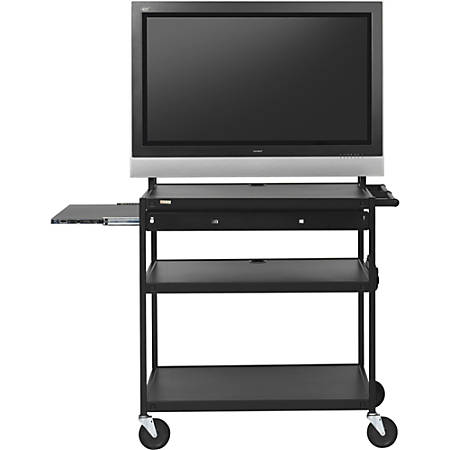 "Bretford Bssics FP60MUL-E5BK Flat Panel Cart - 37"" to 52"" Screen Support - 100 lb Load Capacity - 4 x Shelf(ves) - 66"" Height x 37"" Width x 27"" Depth - Powder Coated - Steel - Black"