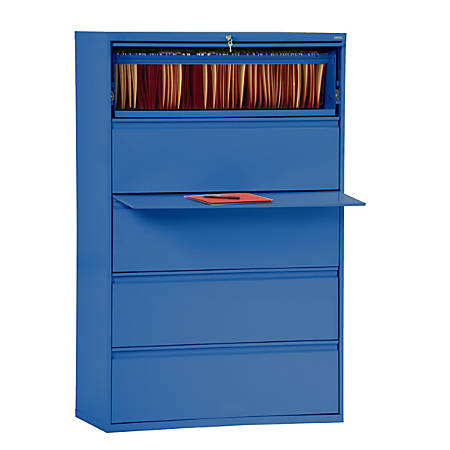 "Sandusky® 800 Series Steel Lateral File Cabinet, 5-Drawers, 66 3/8""H x 36""W x 19 1/4""D, Blue"