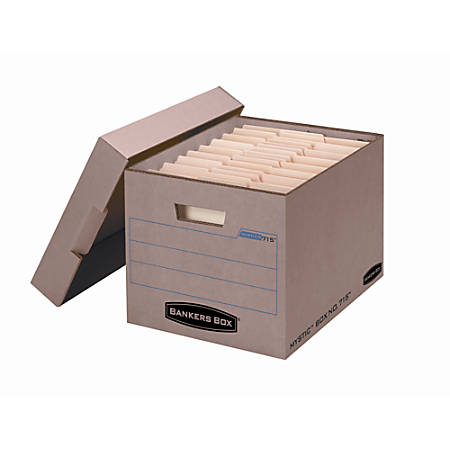 """Bankers Box® Mystic™ Storage Boxes, Letter/Legal, 10""""H x 12""""W x 15""""D, 85% Recycled, Kraft/Green, Pack of 25"""
