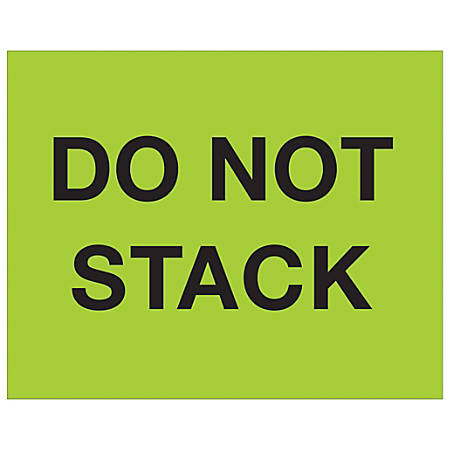 "Tape Logic® Preprinted Pallet Protection Labels, DL1228, 8"" x 10"", ""Do Not Stack"", Fluorescent Green, Roll Of 250"