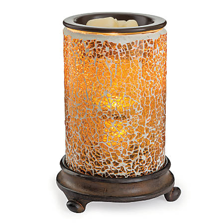"""Candle Warmers Etc Glass Illumination Fragrance Warmer, 5-13/16"""" x 8-13/16"""", Crackled Amber Mosaic"""