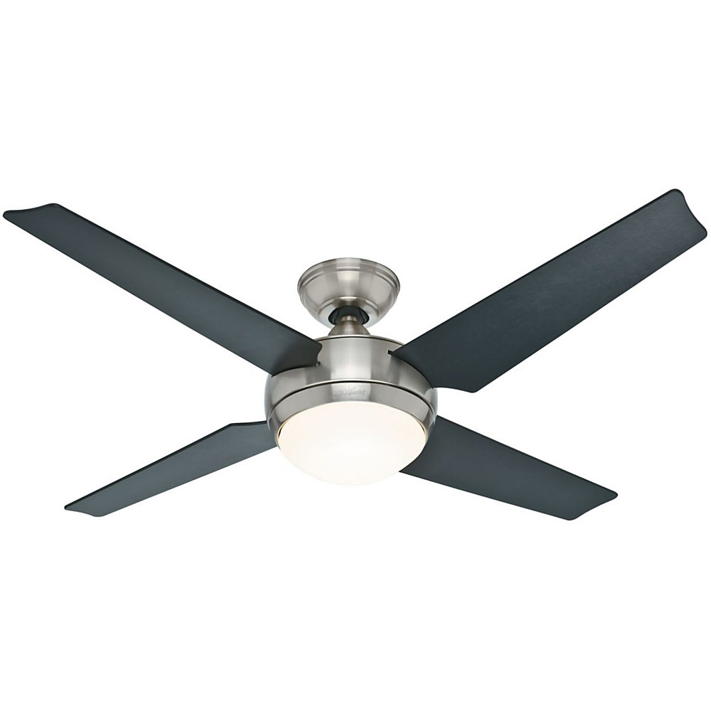 Increase air circulation in the bedroom with this Hunter Sonic fan. The WhisperWind motor technology rotates 4 reversible matte black blades to quietly provide ventilation, while the one 9W LED bulb is dimmable to let you control the room�s mood. Featuring the Installer�s Choice 3-position mounting system for simple adjustments and set-up, this Hunter Sonic fan includes a handheld remote for easy speed regulation.  Ceiling fan is appropriate for ventilating large rooms.  Brushed nickel finish offers resistance to corrosion and fingerprints.  3 speed options support customized setting for comfort.  12-degree blade pitch for quality airflow.  Backed by a limited lifetime manufacturer's warranty.  Energy efficient - designed to use less energy than alternative products, potentially helping you save money and reduce your carbon footprint.  ENERGY STAR certified - meets federal guidelines for energy efficiency.