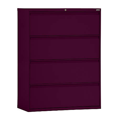 """Sandusky® 800 Series Steel Lateral File Cabinet, 4-Drawers, 53 1/4""""H x 42""""W x 19 1/4""""D, Burgundy"""