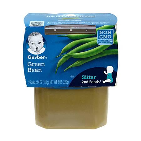 Gerber 2nd Foods Green Beans Baby Food Tubs, 4 Oz, 2 Tubs Per Pack, Case Of 8 Packs