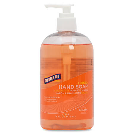 Genuine Joe Liquid Hand Soap - 16 fl oz (473.2 mL) - Pump Bottle Dispenser - Hand - Orange - Moisturizing, Bio-based, pH Balanced - 12 / Carton