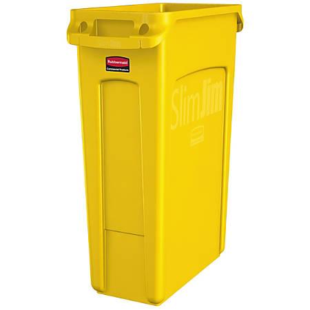 Rubbermaid® Slim Jim Rectangular Polyethylene Vented Waste Receptacle, 23 Gallons, Yellow