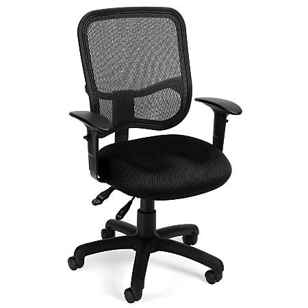 OFM Mesh Comfort Series Fabric Mid-Back Task Chair With Arms, Black/Black