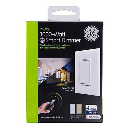 GE Z-Wave Plus In-Wall 1000W Smart Dimmer Switch, Light Almond/White, 500S