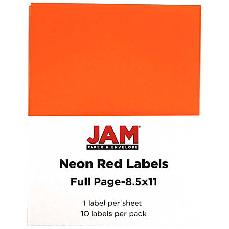 """JAM Paper® Full-Page Mailing And Shipping Labels, 337628604, 8 1/2"""" x 11"""", Neon Red, Pack Of 10"""