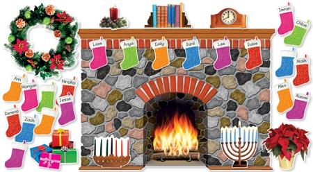 Scholastic Teachers Friend Holiday Hearth Bulletin Board Set Pre K
