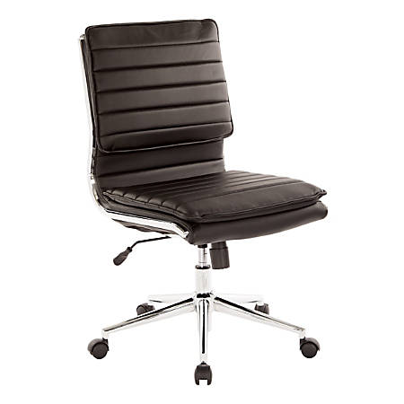 Pro-Line II™ SPX Armless Bonded Leather Mid-Back Chair, Black/Chrome