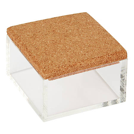 "Office Depot® Small Acrylic Organizer With Cork Lid, 2""H x 3""W x 3""D, Clear"