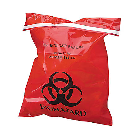 Unimed Stick-On Biohazard Infectious Waste Bags, 1.4 Quarts, Red, Box Of 100