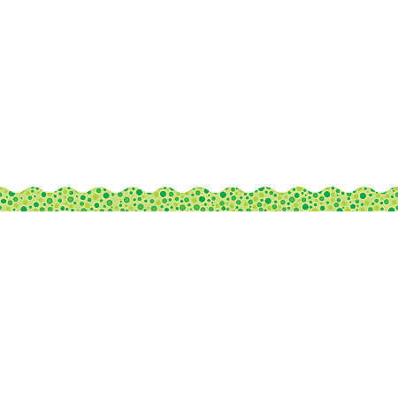 "Scholastic Teacher's Friend Polka-Dots Scalloped Trimmers, 2 1/4"" x 36', Green, Pre-K To Grade 5, Pack Of 12"