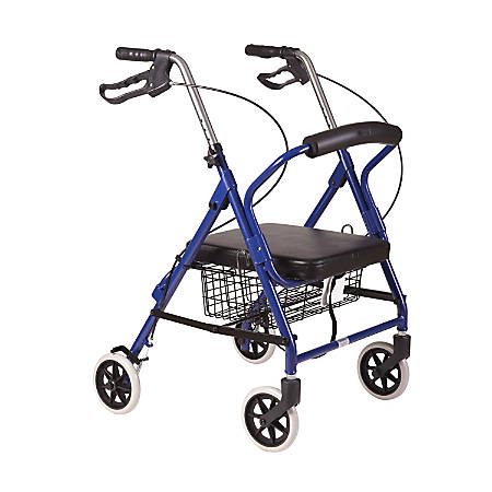 "DMI® Ultra-Lightweight Adjustable Aluminum Folding Hemi Rollator With Seat, 34 1/2""H x 24""W x 17""D, Royal Blue"