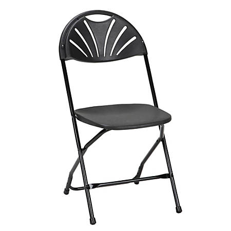 Cosco Classic Collection Fan Back Resin Folding Chair, Black/Black, Pack Of 8