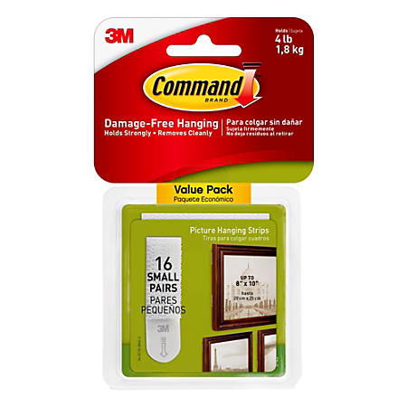 """Command™ Picture Hanging Strips, 1"""" x 2"""", White, Pack Of 16"""